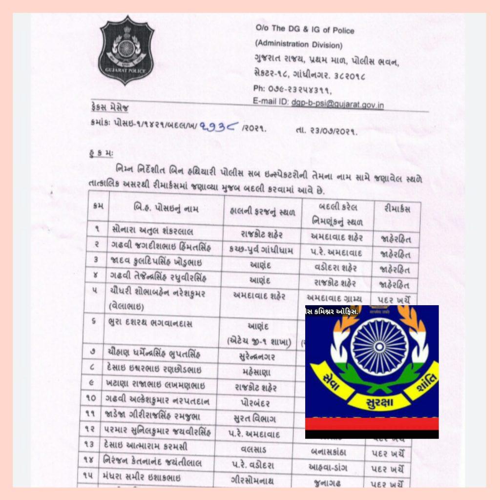 ગુજરાતના 22 PSIની આંતર જિલ્લા બદલી ???